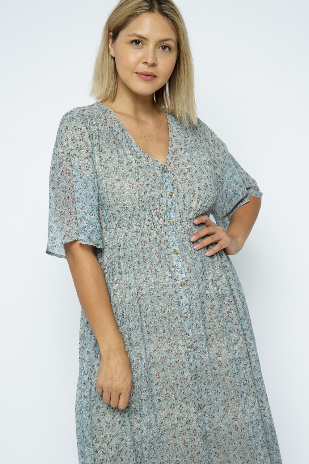MAXI DRESS WITH PLACKET BUTTONS
