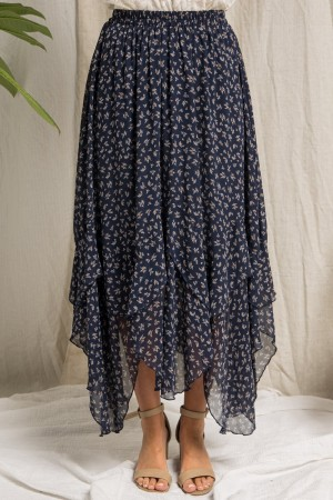 FLORAL PRINT MAXI SKIRT WITH RUFFLE DETAIL
