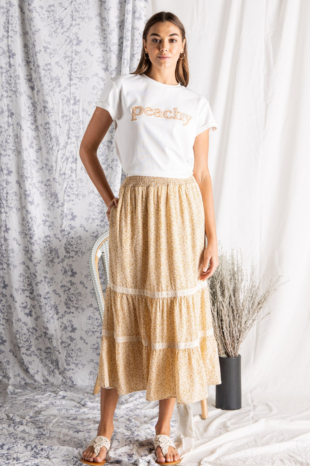 TIERED MIDI SKIRT WITH SMOCKED WAIST AND CONTRAST TRIM