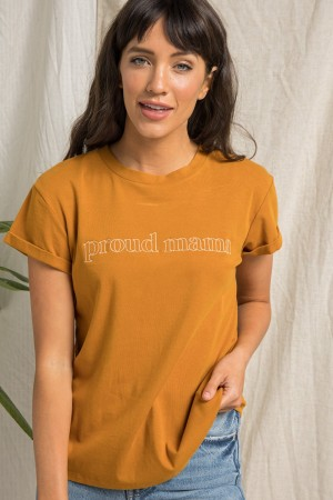 PROUD MAMA EMBROIDED TEE