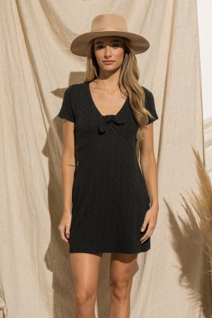 KNIT MINI DRESS WITH FRONT TIE KNOT DETAIL