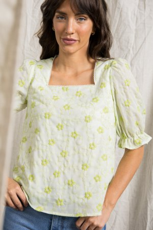 SQUARE NECK BUTTON UP TOP WITH CONTRASTING LACE DETAIL