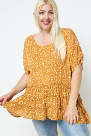 FLORAL PRINT TUNIC TOP WITH RUFFLE DETAIL