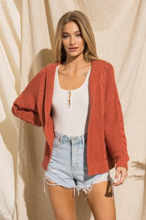 SWEATER KNIT CARDIGAN WITH HOOD