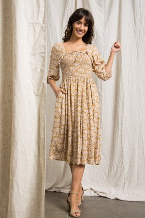 SQUARE NECK MAXI DRESS WITH SMOCKED BODY DETAIL